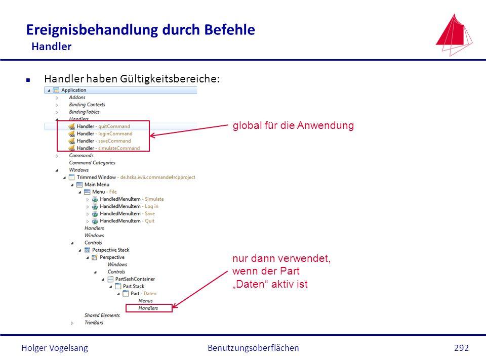Holger Vogelsang Ereignisbehandlung durch Befehle Handler n Handler haben Gültigkeitsbereiche: Benutzungsoberflächen292 global für die Anwendung nur d