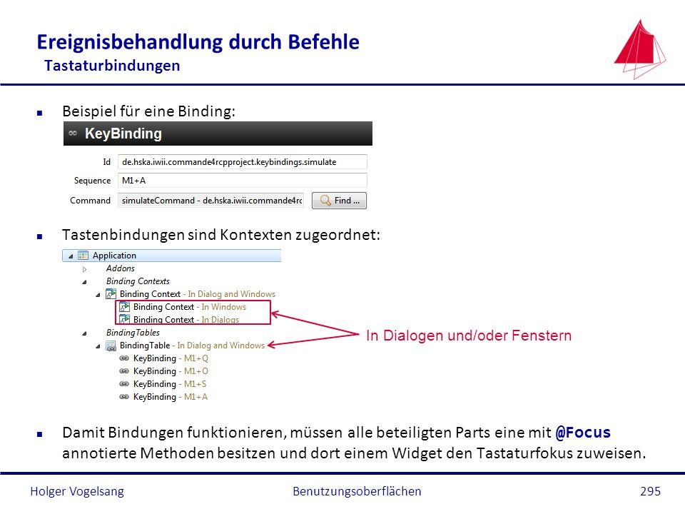 Holger Vogelsang Ereignisbehandlung durch Befehle Tastaturbindungen n Beispiel für eine Binding: n Tastenbindungen sind Kontexten zugeordnet: Damit Bi