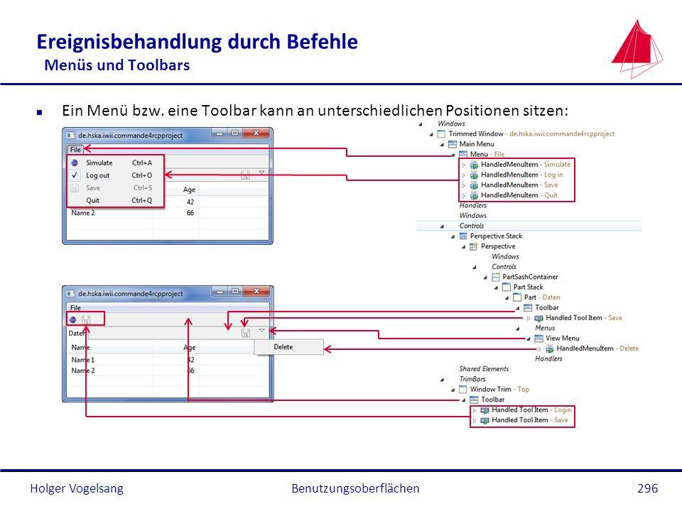 Holger Vogelsang Ereignisbehandlung durch Befehle Menüs und Toolbars n Ein Menü bzw. eine Toolbar kann an unterschiedlichen Positionen sitzen: Benutzu