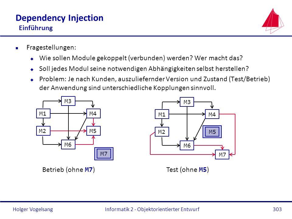 Holger Vogelsang Dependency Injection Einführung n Fragestellungen: u Wie sollen Module gekoppelt (verbunden) werden? Wer macht das? u Soll jedes Modu