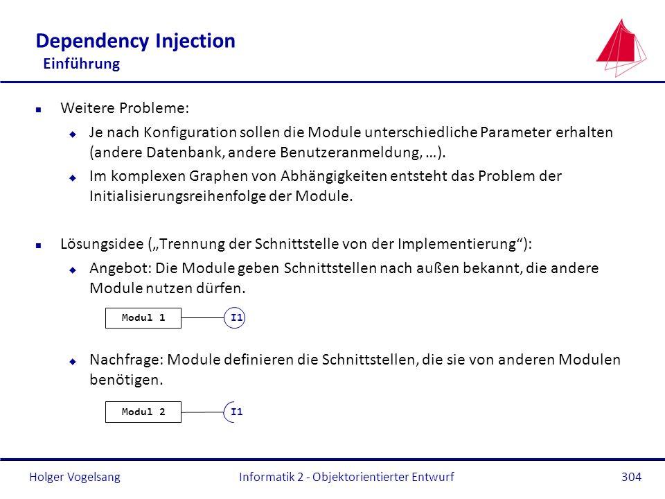 Holger Vogelsang Dependency Injection Einführung n Weitere Probleme: u Je nach Konfiguration sollen die Module unterschiedliche Parameter erhalten (an