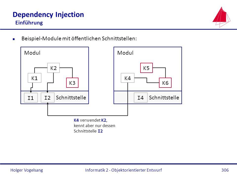 Holger Vogelsang Dependency Injection Einführung n Beispiel-Module mit öffentlichen Schnittstellen: Informatik 2 - Objektorientierter Entwurf306 Modul