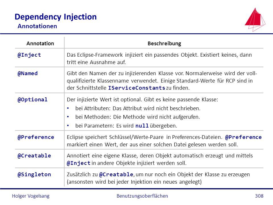 Holger Vogelsang Dependency Injection Annotationen Benutzungsoberflächen308 AnnotationBeschreibung @Inject Das Eclipse-Framework injiziert ein passend