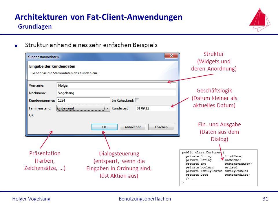 Holger Vogelsang Architekturen von Fat-Client-Anwendungen Grundlagen n Struktur anhand eines sehr einfachen Beispiels Benutzungsoberflächen31 Dialogst