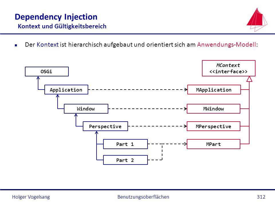 Holger Vogelsang Dependency Injection Kontext und Gültigkeitsbereich n Der Kontext ist hierarchisch aufgebaut und orientiert sich am Anwendungs-Modell