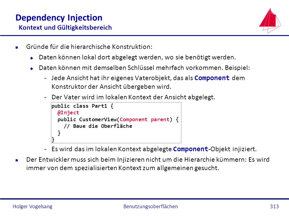 Holger Vogelsang Dependency Injection Kontext und Gültigkeitsbereich n Gründe für die hierarchische Konstruktion: u Daten können lokal dort abgelegt w