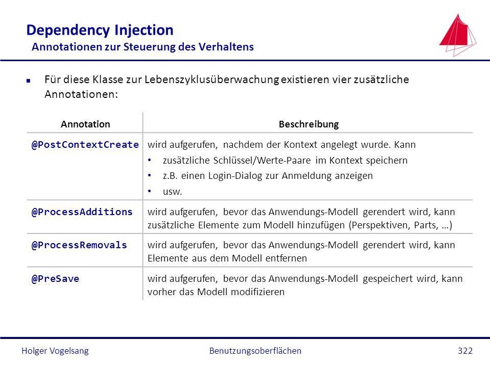Holger Vogelsang Dependency Injection Annotationen zur Steuerung des Verhaltens n Für diese Klasse zur Lebenszyklusüberwachung existieren vier zusätzl