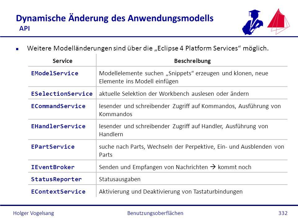 Holger Vogelsang Dynamische Änderung des Anwendungsmodells API n Weitere Modelländerungen sind über die Eclipse 4 Platform Services möglich. Benutzung