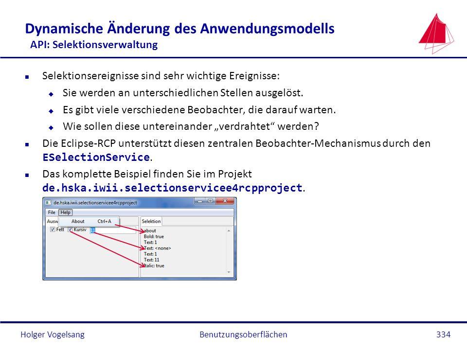 Holger Vogelsang Dynamische Änderung des Anwendungsmodells API: Selektionsverwaltung n Selektionsereignisse sind sehr wichtige Ereignisse: u Sie werde
