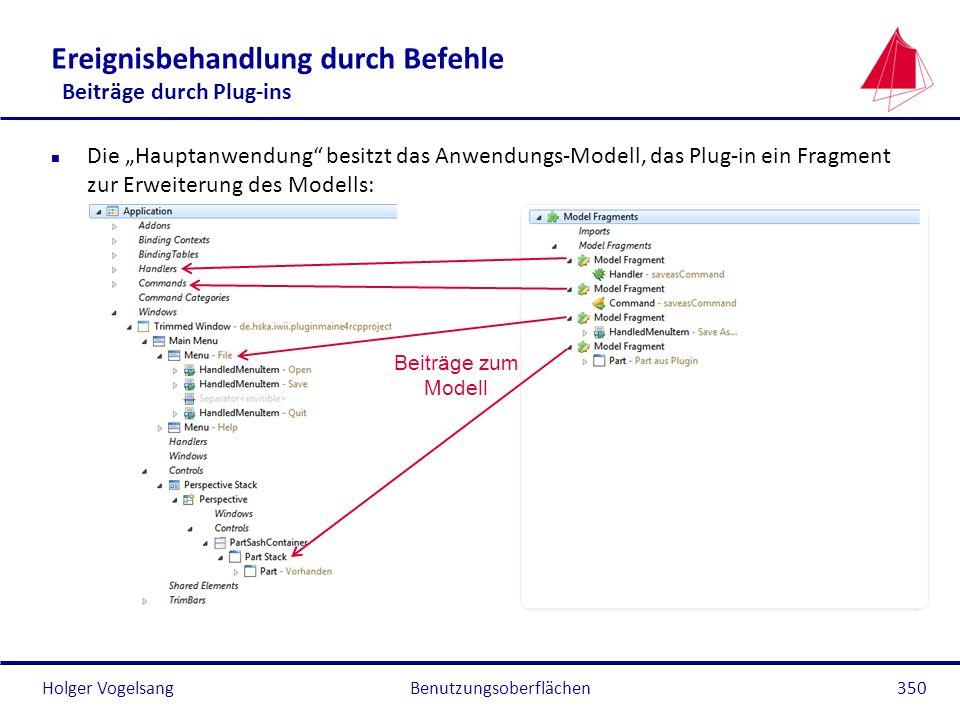 Holger Vogelsang Ereignisbehandlung durch Befehle Beiträge durch Plug-ins n Die Hauptanwendung besitzt das Anwendungs-Modell, das Plug-in ein Fragment