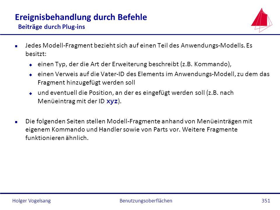 Holger Vogelsang Ereignisbehandlung durch Befehle Beiträge durch Plug-ins n Jedes Modell-Fragment bezieht sich auf einen Teil des Anwendungs-Modells.