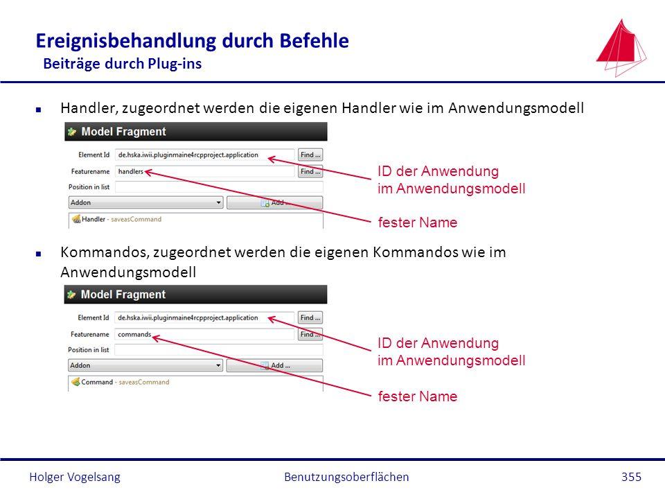 Holger Vogelsang Ereignisbehandlung durch Befehle Beiträge durch Plug-ins n Handler, zugeordnet werden die eigenen Handler wie im Anwendungsmodell n K