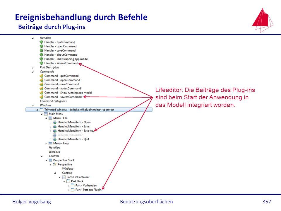 Holger Vogelsang Ereignisbehandlung durch Befehle Beiträge durch Plug-ins Benutzungsoberflächen357 Lifeeditor: Die Beiträge des Plug-ins sind beim Sta