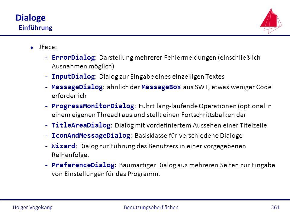 Holger Vogelsang Dialoge Einführung u JFace: -ErrorDialog : Darstellung mehrerer Fehlermeldungen (einschließlich Ausnahmen möglich) -InputDialog : Dia