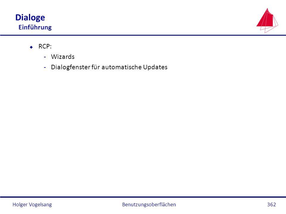 Holger Vogelsang Dialoge Einführung u RCP: -Wizards -Dialogfenster für automatische Updates Benutzungsoberflächen362