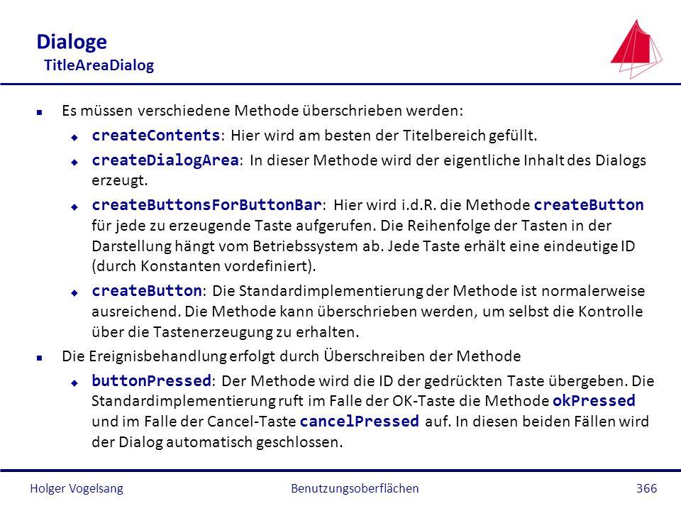 Holger Vogelsang Dialoge TitleAreaDialog n Es müssen verschiedene Methode überschrieben werden: createContents : Hier wird am besten der Titelbereich