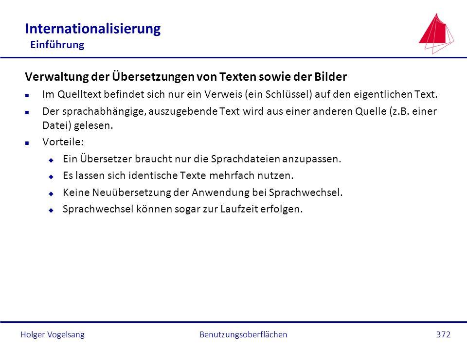 Holger Vogelsang Internationalisierung Einführung Verwaltung der Übersetzungen von Texten sowie der Bilder n Im Quelltext befindet sich nur ein Verwei