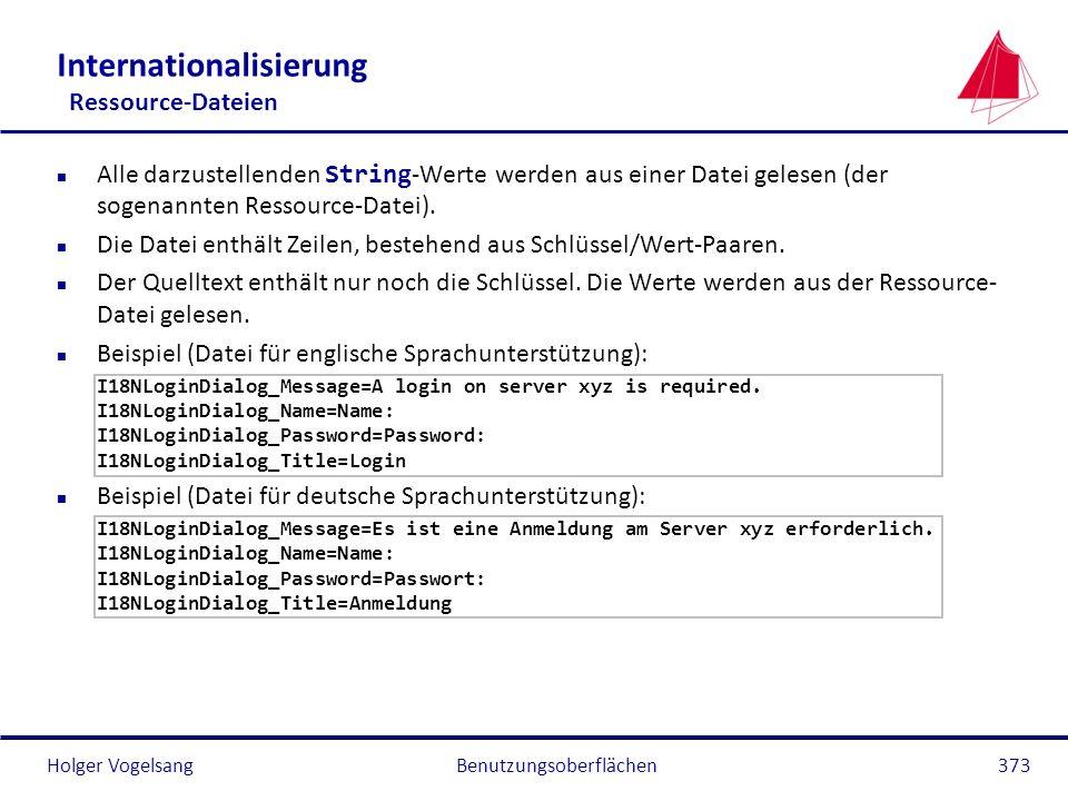 Holger VogelsangBenutzungsoberflächen373 Internationalisierung Ressource-Dateien Alle darzustellenden String -Werte werden aus einer Datei gelesen (de