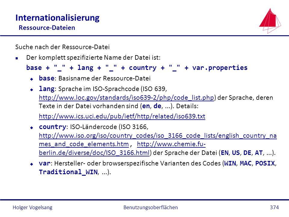 Holger VogelsangBenutzungsoberflächen374 Internationalisierung Ressource-Dateien Suche nach der Ressource-Datei n Der komplett spezifizierte Name der