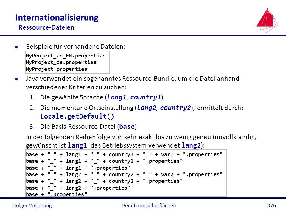 Holger VogelsangBenutzungsoberflächen376 Internationalisierung Ressource-Dateien n Beispiele für vorhandene Dateien: MyProject_en_EN.properties MyProj