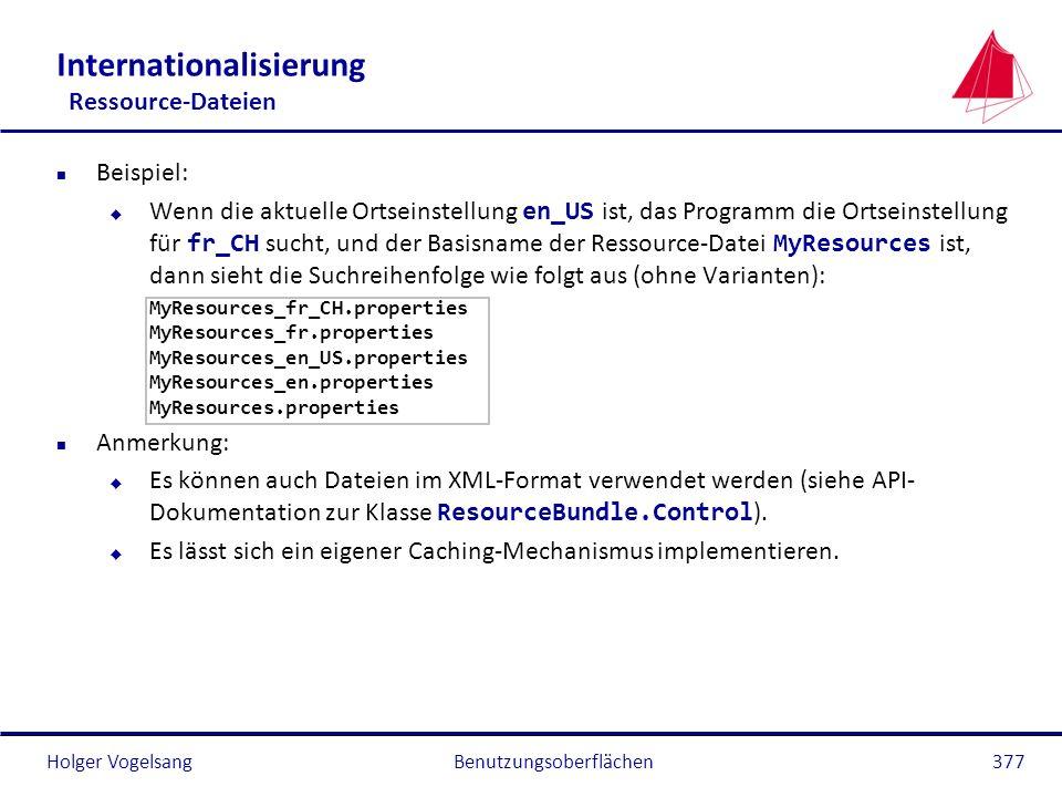 Holger VogelsangBenutzungsoberflächen377 Internationalisierung Ressource-Dateien n Beispiel: Wenn die aktuelle Ortseinstellung en_US ist, das Programm