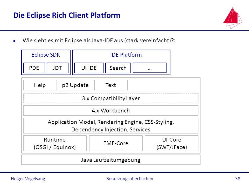 Holger Vogelsang Die Eclipse Rich Client Platform n Wie sieht es mit Eclipse als Java-IDE aus (stark vereinfacht)?: Benutzungsoberflächen38 PDEJDT Ecl