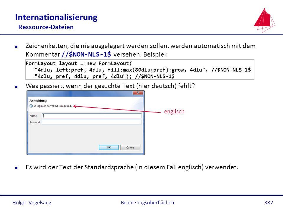 Holger Vogelsang Internationalisierung Ressource-Dateien Zeichenketten, die nie ausgelagert werden sollen, werden automatisch mit dem Kommentar //$NON