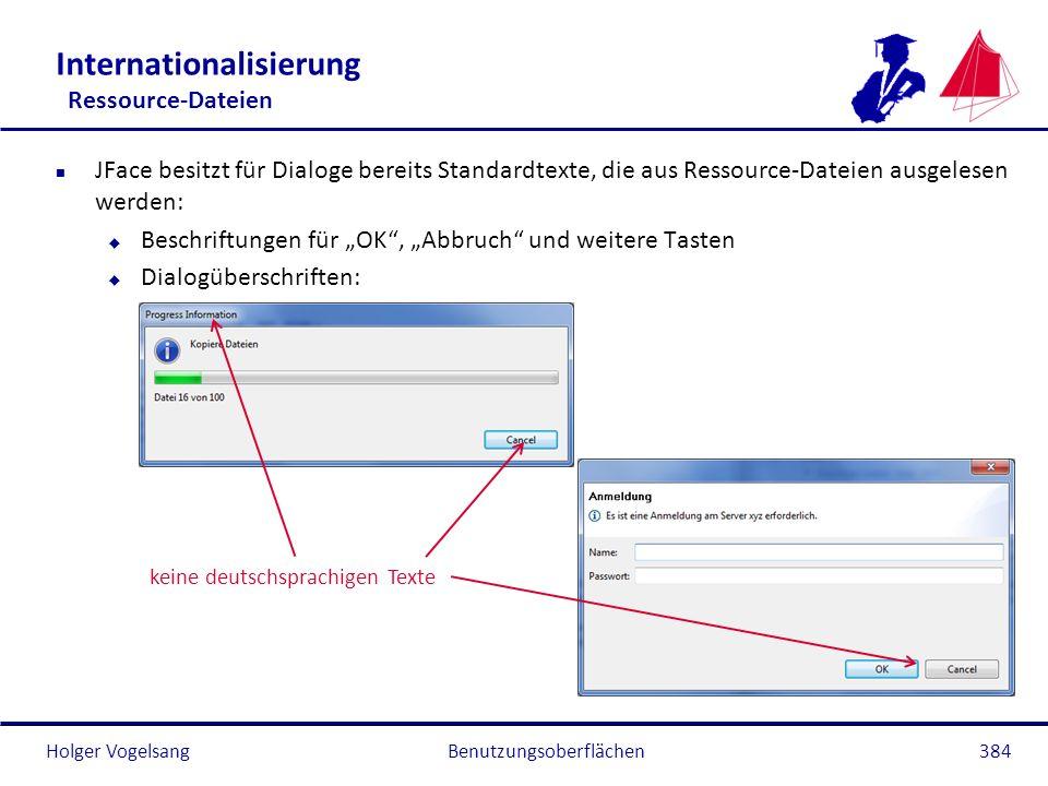 Holger Vogelsang Internationalisierung Ressource-Dateien n JFace besitzt für Dialoge bereits Standardtexte, die aus Ressource-Dateien ausgelesen werde