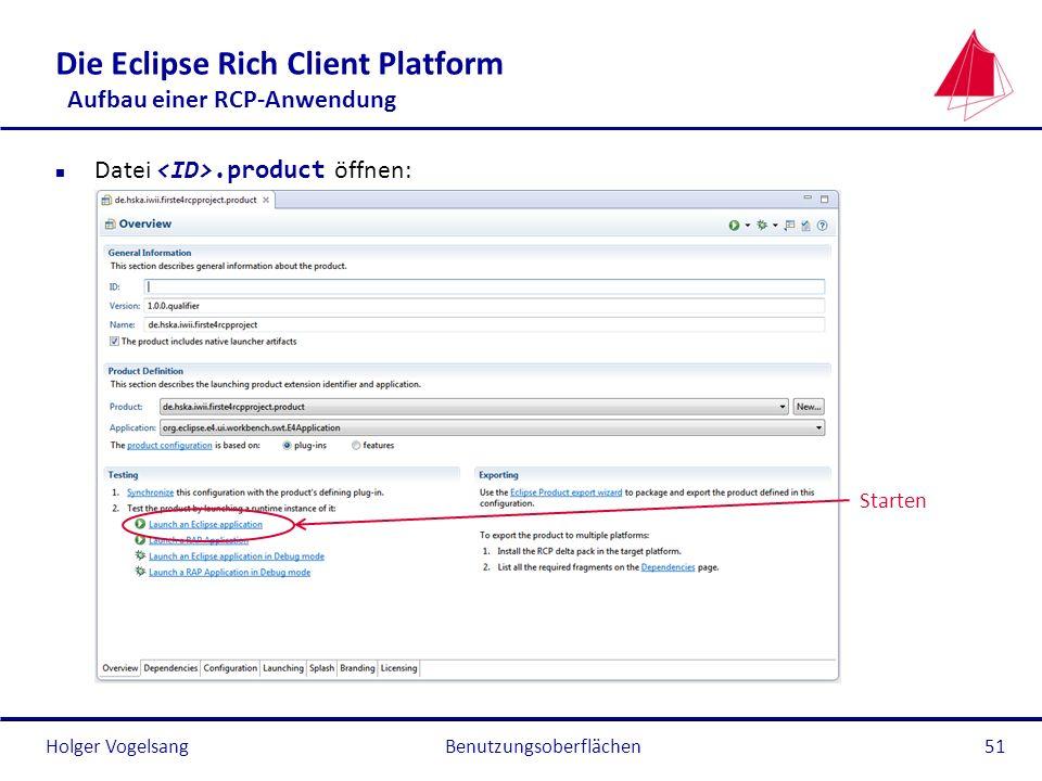 Holger Vogelsang Die Eclipse Rich Client Platform Aufbau einer RCP-Anwendung Datei.product öffnen: Benutzungsoberflächen51 Starten