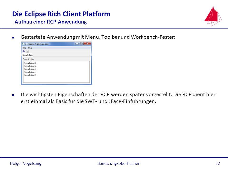 Holger Vogelsang Die Eclipse Rich Client Platform Aufbau einer RCP-Anwendung n Gestartete Anwendung mit Menü, Toolbar und Workbench-Fester: n Die wich
