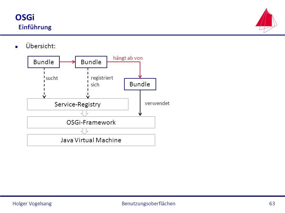 Holger Vogelsang OSGi Einführung n Übersicht: Benutzungsoberflächen63 Java Virtual Machine OSGi-Framework Service-Registry Bundle hängt ab von verwend