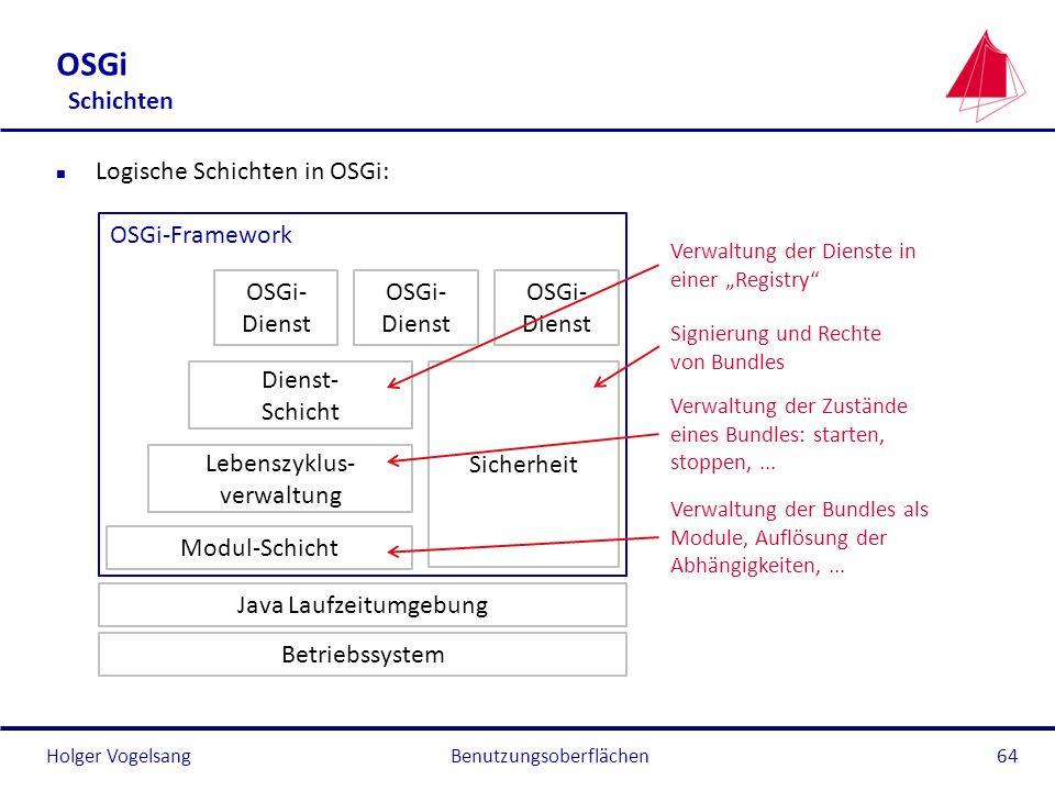 Holger Vogelsang OSGi Schichten n Logische Schichten in OSGi: Benutzungsoberflächen64 Java Laufzeitumgebung Modul-Schicht Dienst- Schicht Sicherheit O