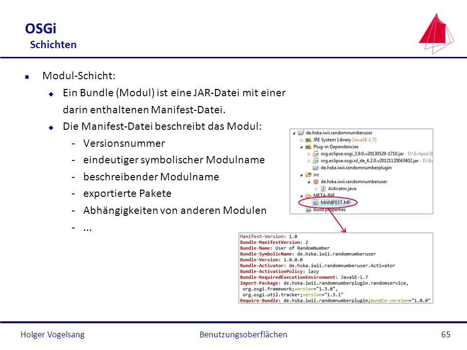 Holger Vogelsang OSGi Schichten n Modul-Schicht: u Ein Bundle (Modul) ist eine JAR-Datei mit einer darin enthaltenen Manifest-Datei. u Die Manifest-Da