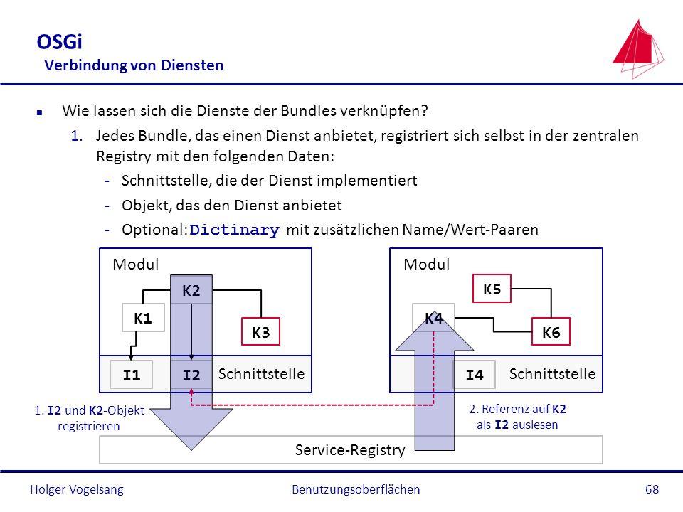 Holger Vogelsang OSGi Verbindung von Diensten n Wie lassen sich die Dienste der Bundles verknüpfen? 1.Jedes Bundle, das einen Dienst anbietet, registr