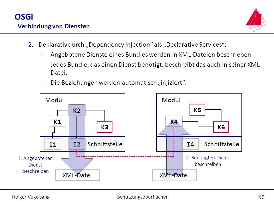 Holger Vogelsang OSGi Verbindung von Diensten 2.Deklarativ durch Dependency Injection als Declarative Services: -Angebotene Dienste eines Bundles werd