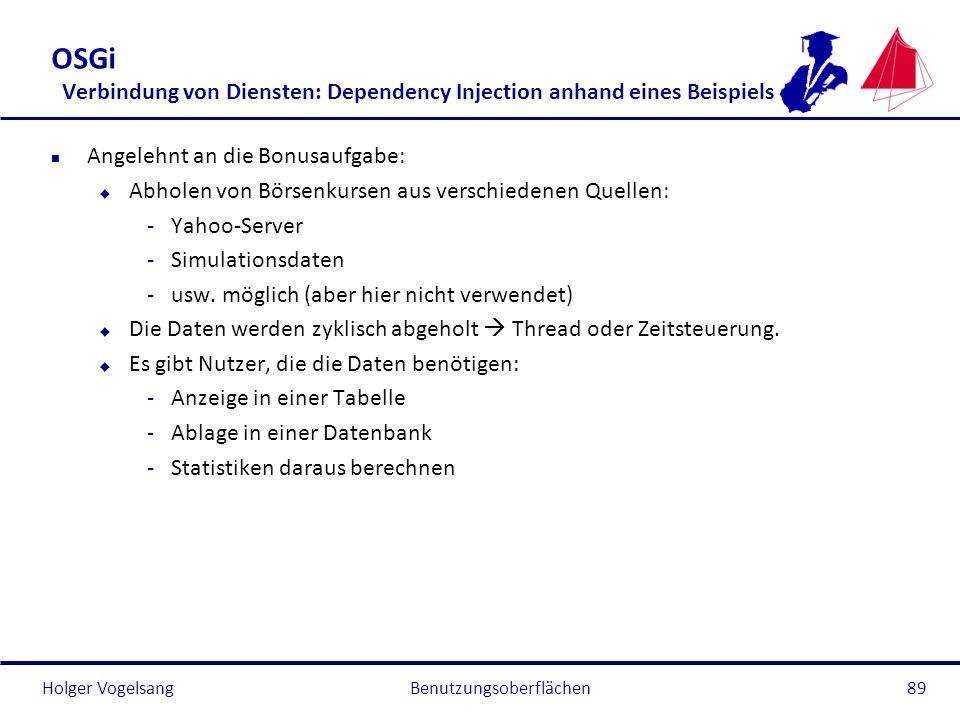 Holger Vogelsang OSGi Verbindung von Diensten: Dependency Injection anhand eines Beispiels n Angelehnt an die Bonusaufgabe: u Abholen von Börsenkursen