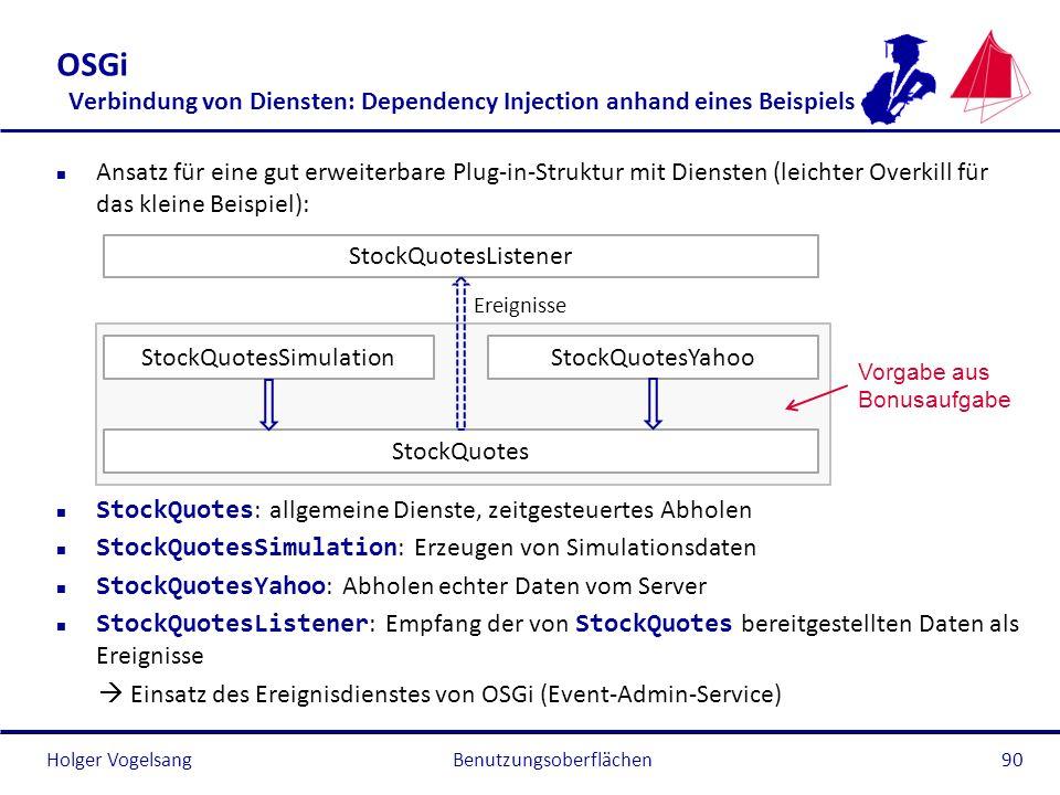 Holger Vogelsang OSGi Verbindung von Diensten: Dependency Injection anhand eines Beispiels n Ansatz für eine gut erweiterbare Plug-in-Struktur mit Die