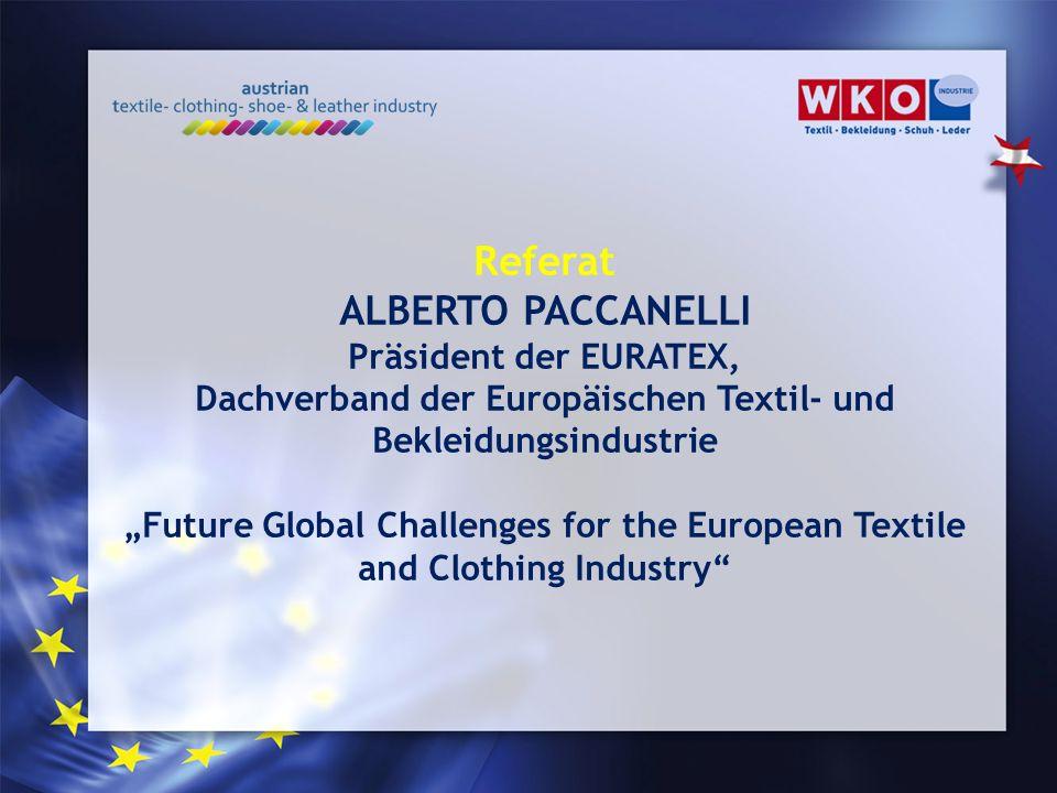 Referat ALBERTO PACCANELLI Präsident der EURATEX, Dachverband der Europäischen Textil- und Bekleidungsindustrie Future Global Challenges for the Europ