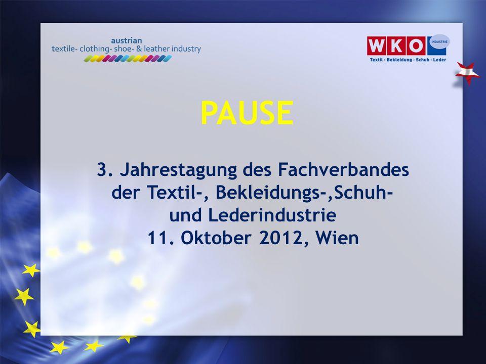 3. Jahrestagung des Fachverbandes der Textil-, Bekleidungs-,Schuh- und Lederindustrie 11. Oktober 2012, Wien PAUSE