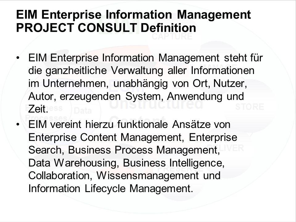 50 EIM Update und Trends 2010 Dr. Ulrich Kampffmeyer PROJECT CONSULT Unternehmensberatung Dr.