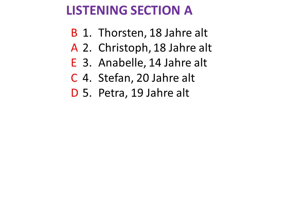 1.Thorsten, 18 Jahre alt 2.Christoph, 18 Jahre alt 3.Anabelle, 14 Jahre alt 4.Stefan, 20 Jahre alt 5.Petra, 19 Jahre alt BAECDBAECD LISTENING SECTION A
