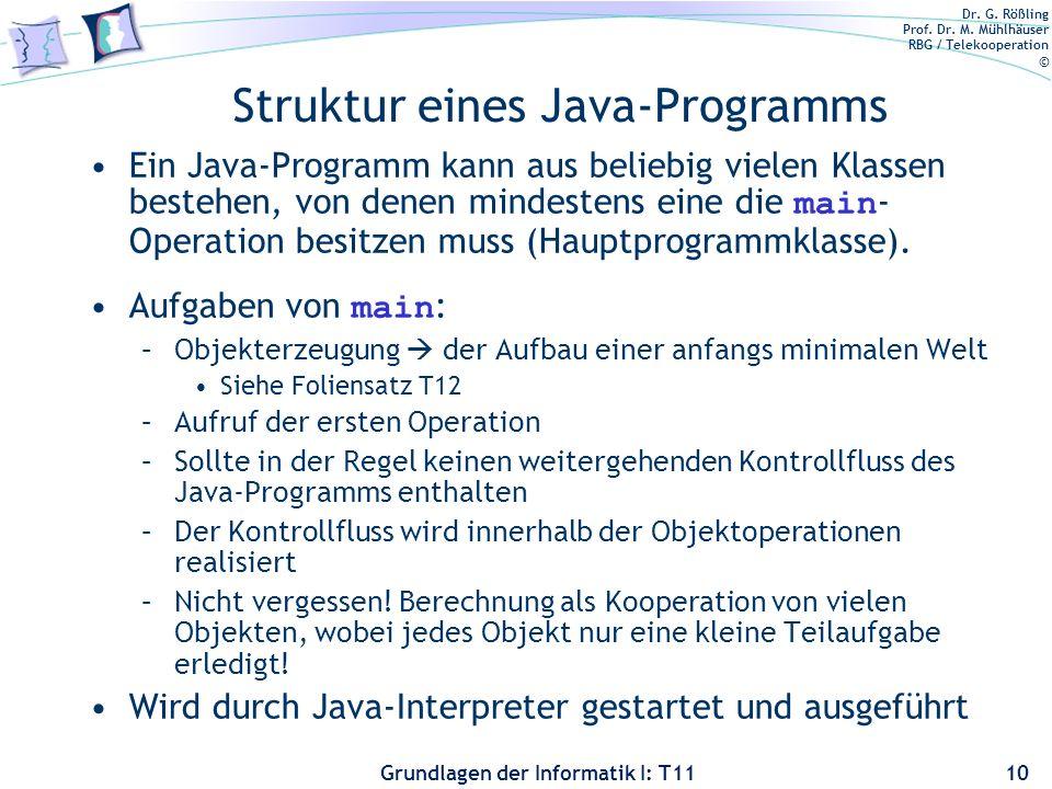 Dr. G. Rößling Prof. Dr. M. Mühlhäuser RBG / Telekooperation © Grundlagen der Informatik I: T11 Struktur eines Java-Programms Ein Java-Programm kann a