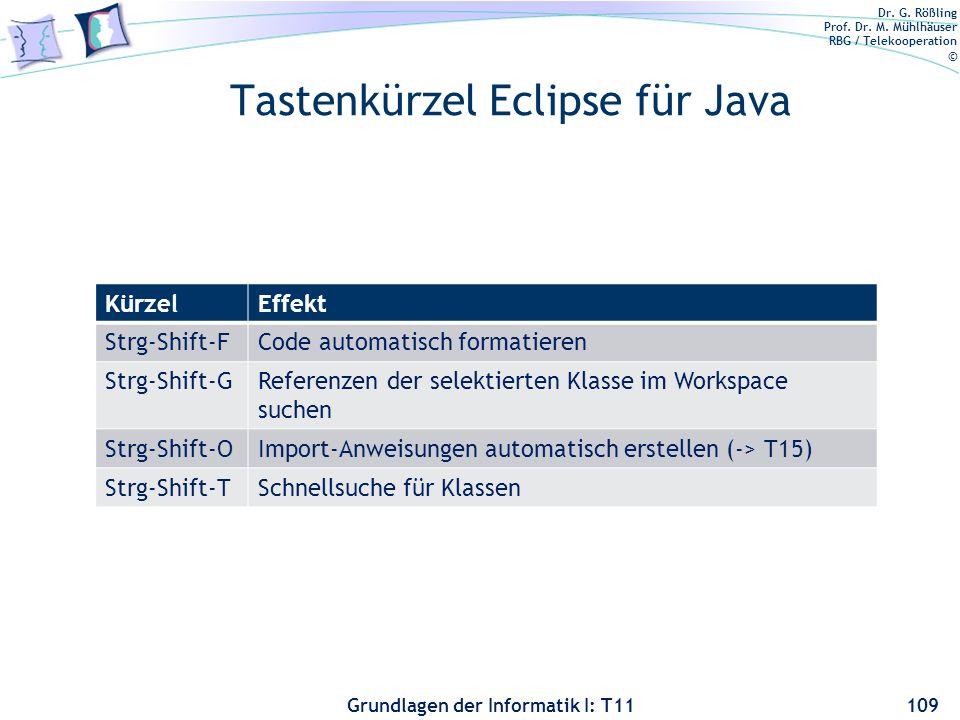 Dr. G. Rößling Prof. Dr. M. Mühlhäuser RBG / Telekooperation © Grundlagen der Informatik I: T11 Tastenkürzel Eclipse für Java KürzelEffekt Strg-Shift-