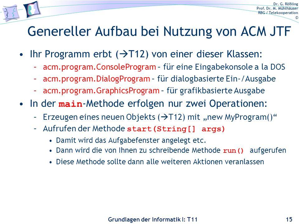 Dr. G. Rößling Prof. Dr. M. Mühlhäuser RBG / Telekooperation © Grundlagen der Informatik I: T11 Genereller Aufbau bei Nutzung von ACM JTF Ihr Programm