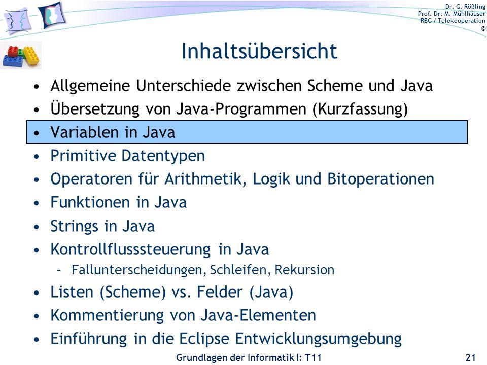 Dr. G. Rößling Prof. Dr. M. Mühlhäuser RBG / Telekooperation © Grundlagen der Informatik I: T11 Allgemeine Unterschiede zwischen Scheme und Java Übers