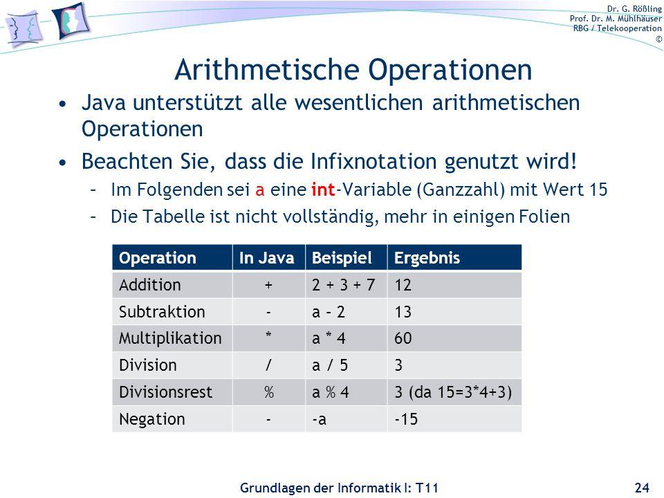 Dr. G. Rößling Prof. Dr. M. Mühlhäuser RBG / Telekooperation © Grundlagen der Informatik I: T11 Arithmetische Operationen Java unterstützt alle wesent