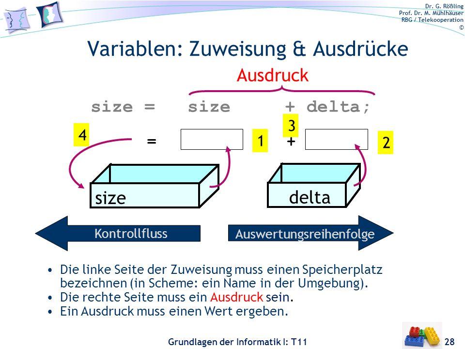 Dr. G. Rößling Prof. Dr. M. Mühlhäuser RBG / Telekooperation © Grundlagen der Informatik I: T11 Variablen: Zuweisung & Ausdrücke 28 1 size = size + de