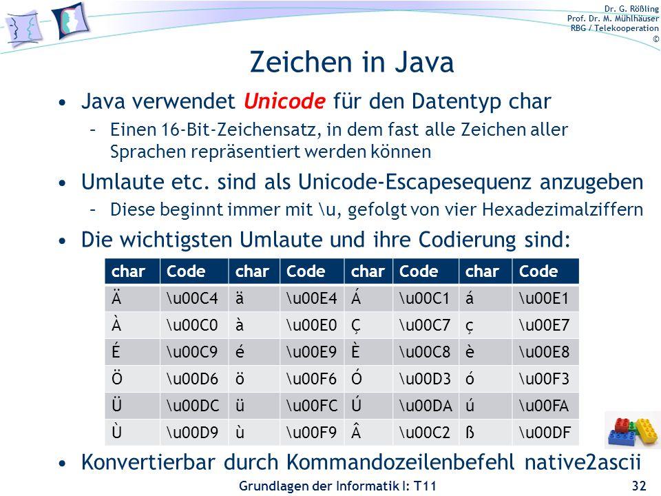 Dr. G. Rößling Prof. Dr. M. Mühlhäuser RBG / Telekooperation © Grundlagen der Informatik I: T11 Zeichen in Java Java verwendet Unicode für den Datenty