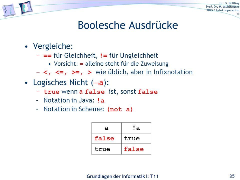 Dr. G. Rößling Prof. Dr. M. Mühlhäuser RBG / Telekooperation © Grundlagen der Informatik I: T11 Boolesche Ausdrücke Vergleiche: –== für Gleichheit, !=