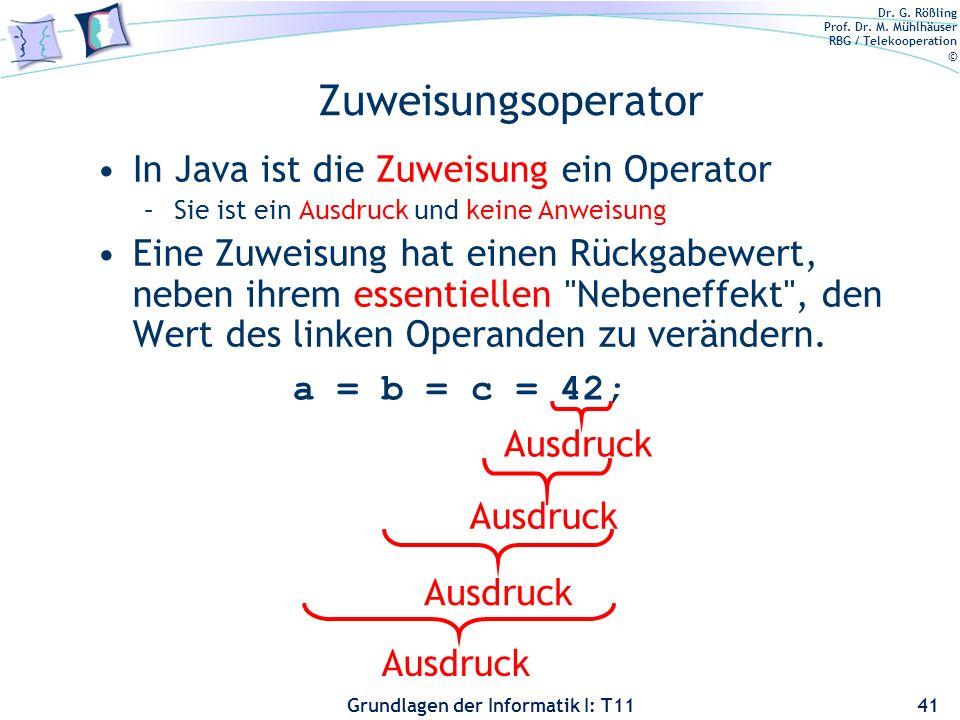 Dr. G. Rößling Prof. Dr. M. Mühlhäuser RBG / Telekooperation © Grundlagen der Informatik I: T11 Zuweisungsoperator In Java ist die Zuweisung ein Opera
